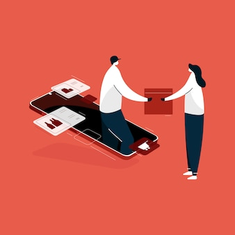 オンラインショッピングモバイルアプリケーション、等尺性速達宅配サービスイラスト、自宅からショッピング