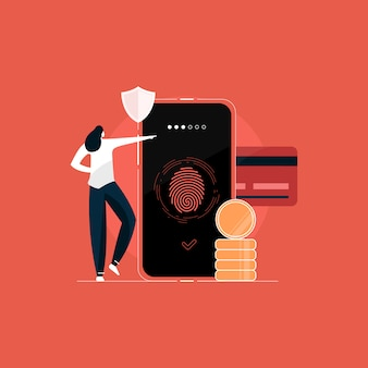 Безопасная оплата, безопасные личные данные, иллюстрация концепции защиты конфиденциальной информации