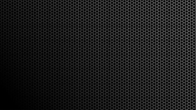 黒いグラデーションラインと六角形の背景。