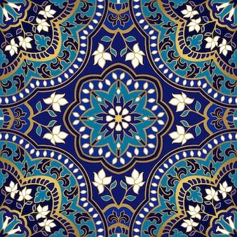 青い花柄。