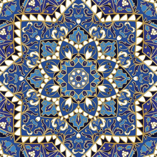 華やかなブルーの模様。