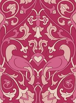 Розовый узор с птицами.