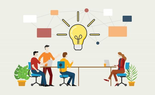 テーブルの上のチームとの効果的なブレーンストーミングの概念