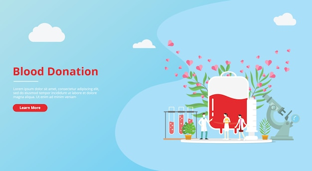 Концепция донорства крови для баннера шаблона сайта