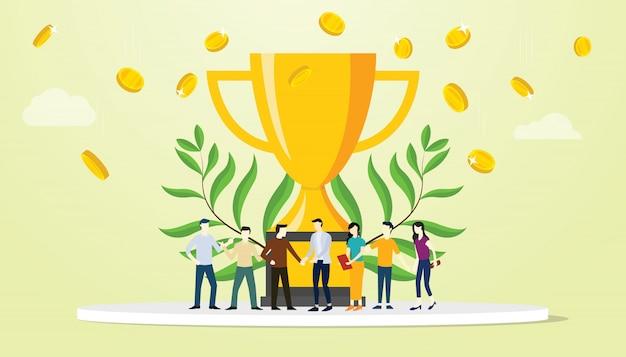 Команда людей успеха в бизнесе с большим золотым трофеем