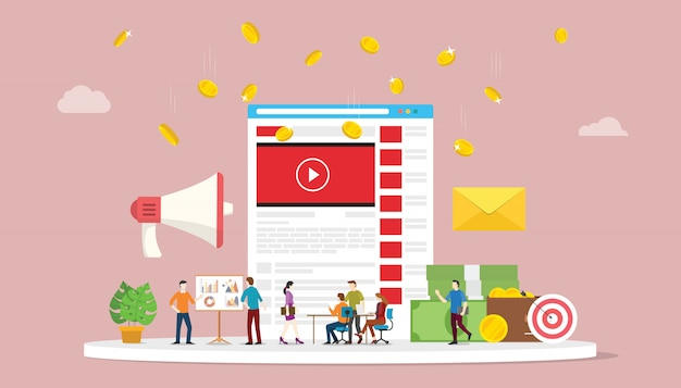 ソーシャルメディアチームのビジネスマーケティングとビデオマーケティングキャンペーンのコンセプト