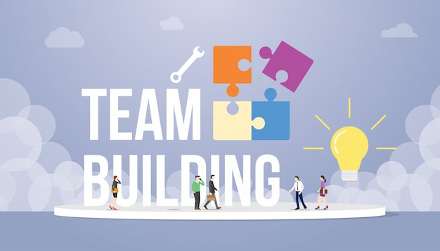 Концепция тимбилдинга с большим словом текст и головоломки с командой людей офисной компании и лампочки