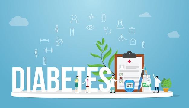 チーム医師や看護師と糖尿病の概念医療健康レポートの概念