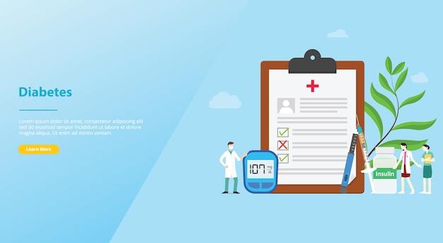 Концепция отчета о здоровье концепции диабета для шаблона веб-сайта или целевой страницы