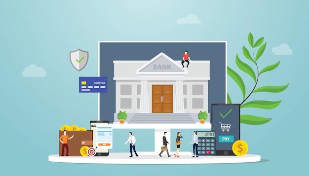 チームの人々とお金の金融とオンラインバンキングのモバイル決済技術の概念