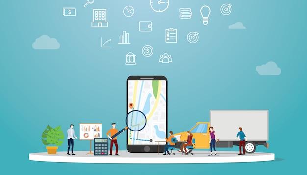 地図アプリで最適なルートを見つけるための位置情報最適化検索