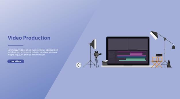 Производство фильмов или видео с помощью командного редактора видео с некоторыми инструментами для редактирования видео в современном плоском стиле.