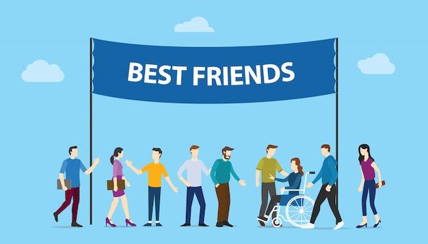 親友の大きな単語テキストバナーコミュニティチーム人々家族と一緒にモダンなフラットスタイル。