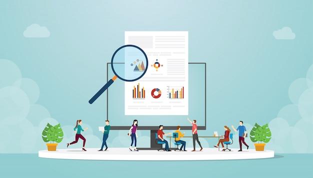 Команда людей, мужчин и женщин, изучать информацию инфографики данных с современным плоским стилем