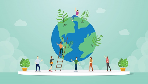 人とエコロジーの世界環境とモダンなフラットスタイルの世界樹の成長