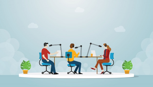 Производство команды подкаст с людьми, мужчина и женщина сидят и обсуждают использование микрофона для подкастинга с современным плоским стилем - вектор