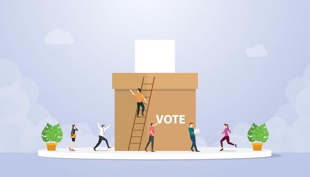 Концепция голосования с людьми избиратель дает бумагу и коробку с современным плоским стилем