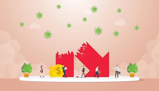 Символ экономического роста рухнул возле бизнесмена воздействия коронирусного вируса в современном плоском мультяшном стиле.