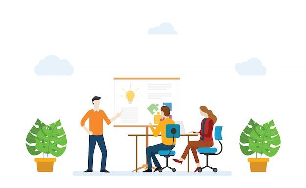 Концепция обучения персонала с обучением и обучением новых сотрудников в современном плоском стиле