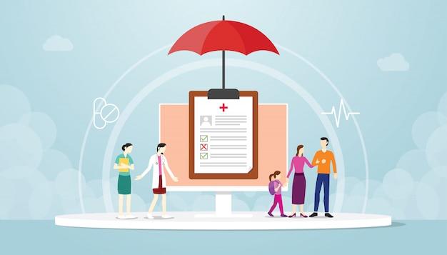 治療病院の医師を取得する際の家計の保護。健康保険フラットスタイル漫画デザインのコンセプト