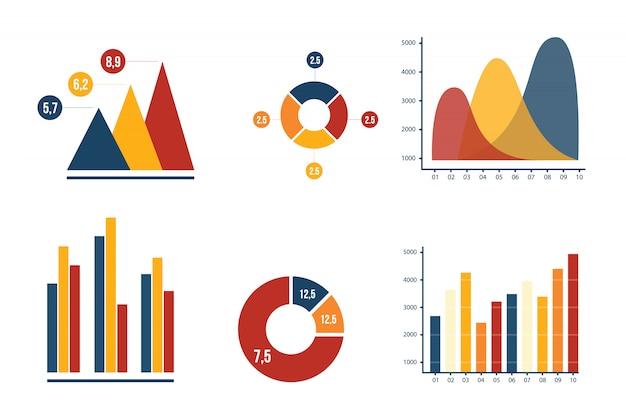 График и круговая диаграмма бизнес маркетинг с гармонией цвета коллекции векторные иллюстрации