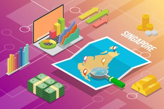 シンガポール共和国アイソメトリックビジネス経済成長国