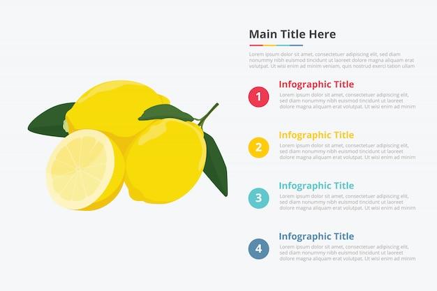 いくつかのポイントタイトルの説明とレモン果実のインフォグラフィック