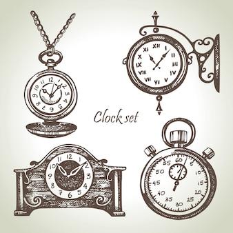 Ручной обращается набор часов и часов