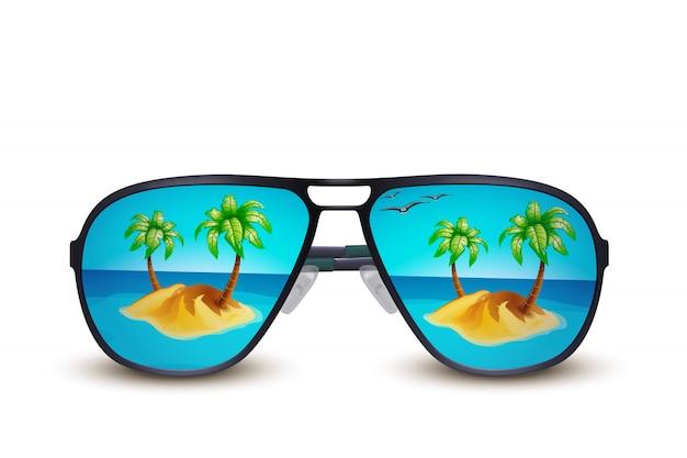 Островные солнцезащитные очки на белом