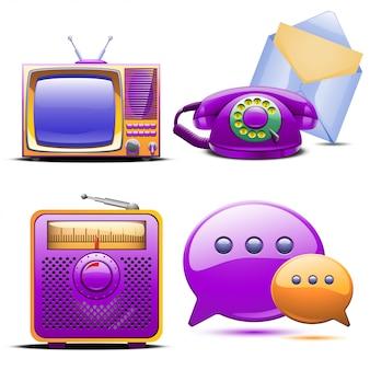 レトロな様式化されたテレビラジオ電話とメールのセット