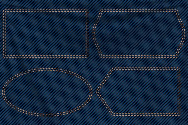 青いデニム背景ラベル