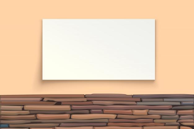 Каменная стена с бумажной доской