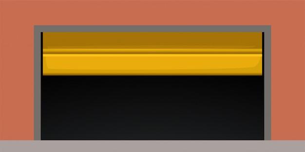 Современная желтая дверь гаража на красном
