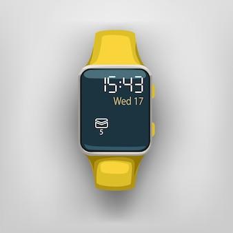 灰色の背景にスマートな時計