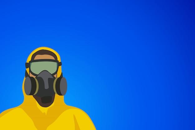 Человек в желтом костюме на синем