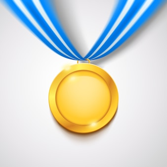 Золотая медаль с лентой