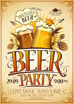 Дизайн плаката для пивной вечеринки