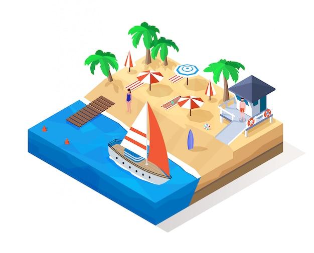 Изометрические пляж. низкополигональная иллюстрация тропического лета