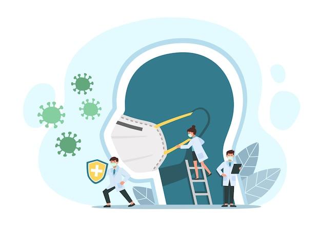 経験豊富な医師が白いほこり、ウイルス、細菌に対する医療用マスクで頭の近くに立ちます。コロナウイルス検疫の概念。