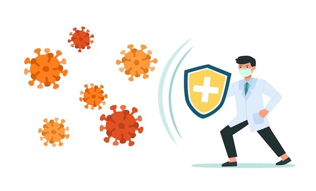 Доктор держит щитовое покрытие от вирусов и бактерий. здоровье бактерий, защита от вирусов. здоровый доктор отражает атаку бактерий с щитом. повысьте невосприимчивость с иллюстрацией концепции медицины.