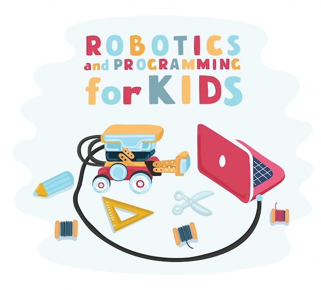 賢い子供たちの手は、子供のためのロボティクス、列車を持つロボットデザイナーを設計しました。エレクトロニクス設計構築設計。ロボットを組み立てる
