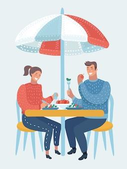 ストリートカフェのカップルの漫画面白いイラスト。男と女がケーキを食べ、コーヒーを飲みます。白い背景の上の孤立したオブジェクト