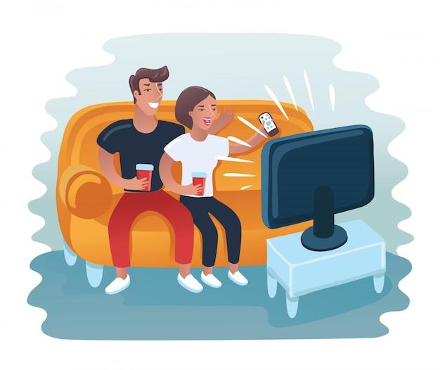 Пара смотрит ретро телевизор