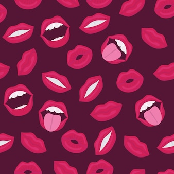 女性の唇。口にキス、笑顔、舌、歯、キスの背景にレタリング。ポップアートのレトロなスタイルのコミックのシームレスなパターン。女の子、男の子、服の抽象的なシームレスパターン。