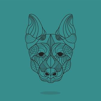 幾何学的な曼荼羅犬のデザインの背景