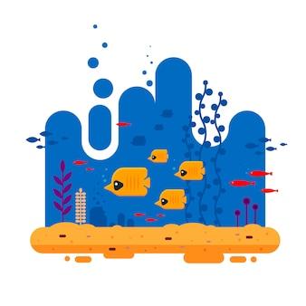 Стая тропических рыб-бабочек плавает на глубине среди других рыб, красочный подводный мир с водорослями и песком - плоская иллюстрация