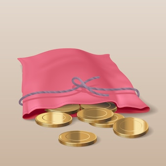 黄金のコインのイラストバッグ