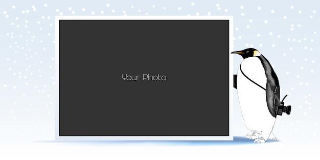 Коллаж фоторамки для зимы или новогодней иллюстрации