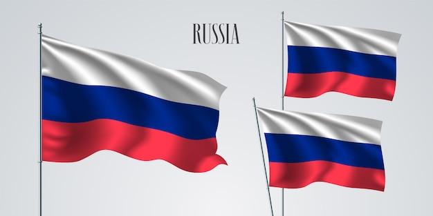 イラストの旗を振ってロシア
