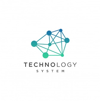抽象的なテクノロジーのロゴテンプレート。ネットワークインターネット技術コンセプトイラスト